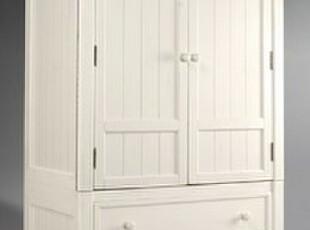 2012北欧表情宜家风地中海白色百叶实木卧室两门大衣柜家具定制,衣柜,