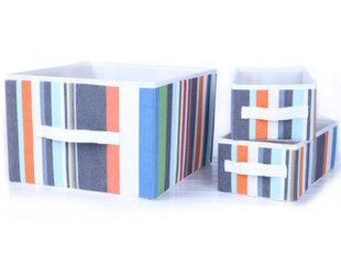 宜家竖列条纹收纳盒 衣柜储物盒收纳箱 3件套,衣柜,