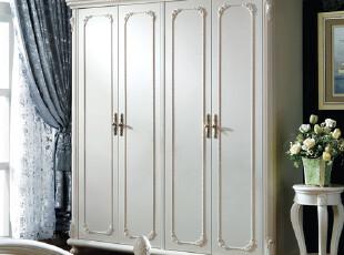 贝尔帝丝 法式家具 四门衣柜 欧式实木衣柜 衣帽间 平拉门 6831-5,衣柜,