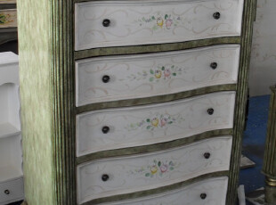 仿古彩绘家具绿色斗柜/仿古斗柜/实木 斗橱 带六抽/仿古家具,衣柜,