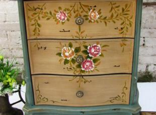 法式乡村风格 格丽斯做旧欧式彩绘家具 复古手绘床头柜 彩绘边柜,衣柜,