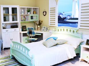 地中海儿童卧房家具 浅绿色 实木做旧 1.5米床 敞门衣柜 转角书桌,衣柜,