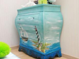 地中海储物柜手绘收纳柜简约抽屉柜斗橱实木斗柜储藏柜子特价促销,衣柜,