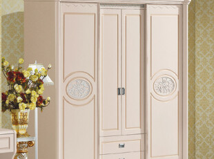 韩式田园风格家具四门衣柜 简便衣柜简易木质衣柜 实木脚衣橱B103,衣柜,