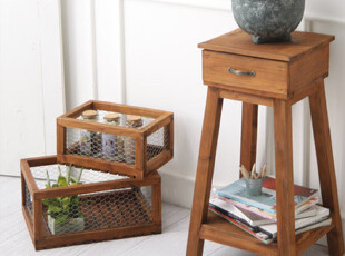 艾菲尔—美式乡村复古 实木做旧花架 床头柜/边桌 地中海风格家具,衣柜,