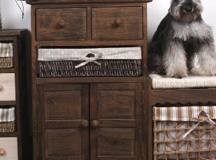 同木 出口 欧美环保实木田园 柳编 床头柜 摆饰柜 储物柜 收纳柜,衣柜,