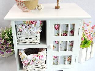 柜子 欧式田园风格 韩式二抽屉布艺床头柜 收纳柜 储物柜 柳编柜,衣柜,