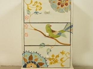 [多美生活]外贸原单床头柜收纳柜储物柜木板板材手绘家具,衣柜,