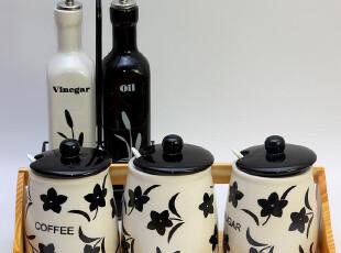 充人气 依思梦雅 景德镇陶瓷 厨房小工具 调味罐 黑色花五件套,调味罐,