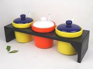 个性创意时尚厨房用品厨具炫彩木架陶瓷调味罐_带勺调味套装,调味罐,