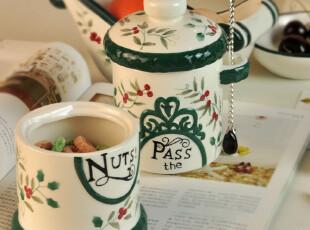 Winterberry stoneware红雀冬青浆果.陶瓷两节罐果仁罐.原装礼盒,调味罐,