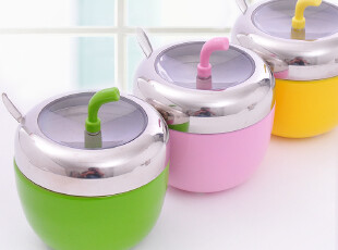 三金冠 苹果型可视调味罐带小勺 单个售 C201,调味罐,