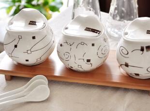 {完美厨娘}流线欧式家居美物.竹木垫子创意陶瓷调味罐三件套.,调味罐,
