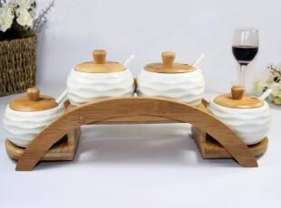 竹木盖陶瓷调味罐调料罐4件套创意桥型调味瓶盐罐调料盒调料瓶,调味罐,