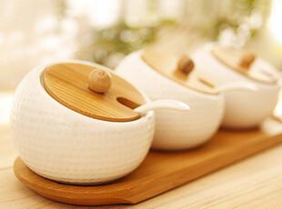 榴莲陶瓷竹木调料罐套装 盐罐调料罐 调料盒 佐料瓶宜家风格zakka,调味罐,
