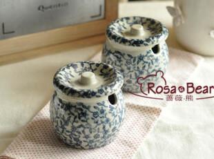 日式和风青花雕调味罐 家居陶瓷 釉下彩 山田烧,调味罐,