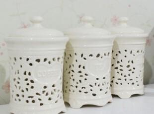 圆柱形镂空雕花陶瓷调味三件套厨房用品  创意 DIY 厨具,调味罐,