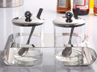 厨房用品宜家调味瓶 不锈钢调料盒盐罐糖罐 玻璃厨房用具两件套装,调味罐,