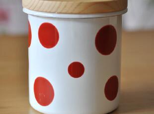 日单 水玉 搪瓷 密封罐 零食收纳罐 zakka 红色水玉,调味罐,
