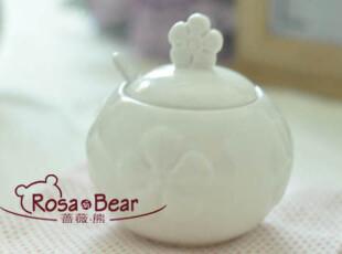 小花浮雕调味罐 家居陶瓷 出口,调味罐,