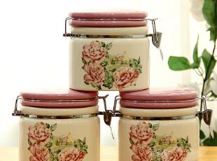 欧美乡村 陶瓷手绘风景大号密封罐厨房奶粉罐储物罐咖啡罐三件套,调味罐,