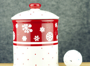 家居礼品 陶瓷手工 釉下彩 雪花系列厨房用品 超大食品罐密封罐,调味罐,