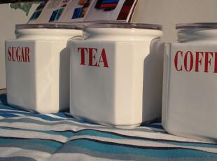 江浙沪包邮陶瓷罐三件套/收纳罐/储物罐/糖罐/茶叶罐/咖啡罐送勺,调味罐,
