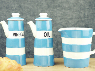 中秋国庆礼 康沃尔蓝色的大海 陶瓷量杯 油壶 烘焙用具 调味料罐,调味罐,