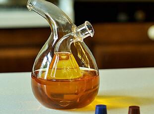 【鼎礼家居】创意趣味透明玻璃双层油醋瓶/收纳调味瓶 1108,调味罐,