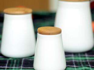 陶瓷配竹木密封罐-储存罐盐罐糖罐食物罐调料罐大中小号,调味罐,