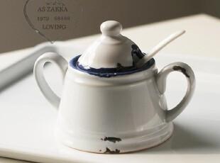 五折特卖 地中海 仿搪瓷双耳做旧陶瓷调味罐,调味罐,