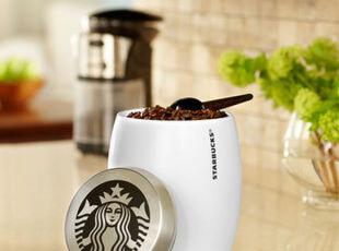 星巴克starbucks 白色陶瓷密封罐 1磅容量咖啡豆储物罐糖罐 24oz,调味罐,