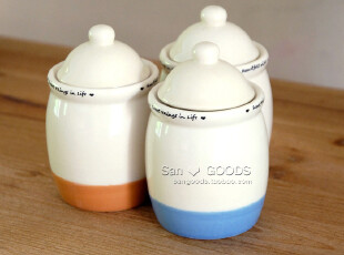【山鱼良品】复古陶瓷3色圆头盖密封罐 储物罐 糖罐 一套售,调味罐,