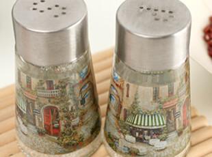 懒角落★创意家居 复古透明 时尚欧式 圆形小调味瓶罐 2件套33402,调味罐,