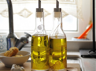 美璃 花婆婆欧式厨房玻璃油壶健康防漏酱油醋瓶无毒创意油瓶,调味罐,