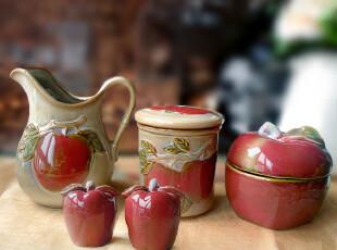 高温陶瓷 复古欧式 花器 调味罐 糖罐 椒盐瓶 怀旧苹果系列五件套,调味罐,