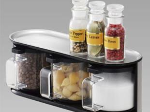 【包邮】 日本LEC不锈钢调味罐套装 厨房置物架调味盒 调料罐盒,调味罐,