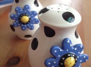 特价 外贸出口余单陶瓷 黑圆点 立体蓝色小花 调味瓶 单只,调味罐,