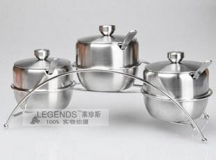 大容量304加厚不锈钢直身调味罐四件套 带架子调味罐,调味罐,