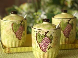 欧式田园厨房用品陶瓷调味罐调味瓶调料罐调料盒三件套装@紫葡萄,调味罐,