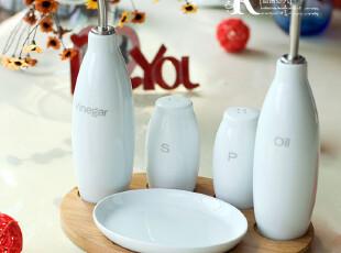 6折包邮北欧风~纯白陶瓷调味罐六件套送竹板调味瓶 时尚厨房用具,调味罐,