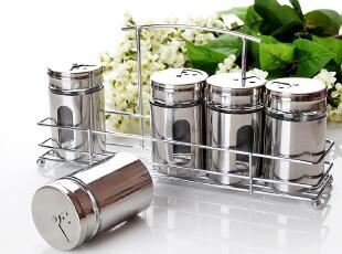 创意旋转顶盖厨房调味瓶 厨房用品 玻璃储物瓶罐调味瓶罐不锈钢套,调味罐,