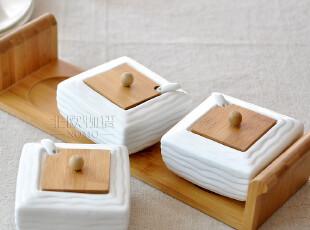 [北欧宜家]天然竹制 北村穗白陶瓷日式调味罐4件套装 调味瓶-大号,调味罐,