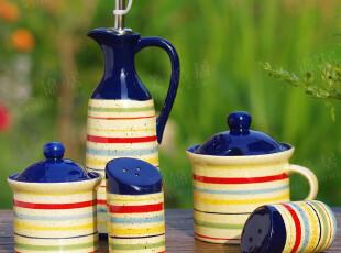 玫瑰罗曼Rose&Roman正品 手绘陶瓷 翡冷翠厨房调味4件套,调味罐,