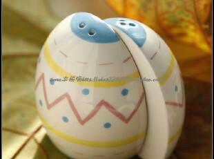外贸手绘陶瓷 复活节彩蛋 调味瓶组-淡黄线条款。,调味罐,