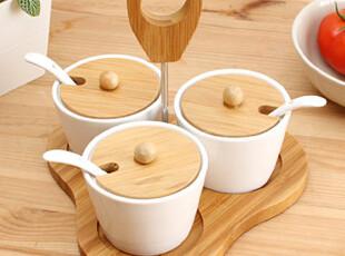 懒角落★创意家居日式厨房 圆锥形陶瓷光面调味瓶罐 3件套装33401,调味罐,