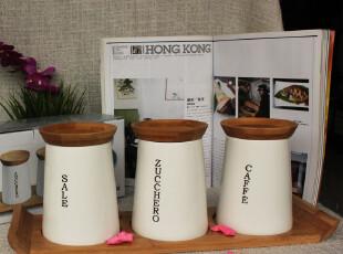 ZEN陶瓷 密封罐 收纳罐 3罐+1木座套装 简约时尚 厨房用品,调味罐,