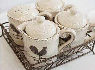 韩国正品代购 公鸡做旧铁艺陶瓷调料瓶套装餐桌调味罐四件套,调味罐,