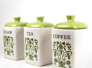 厨房用品陶瓷密封罐三件套雅典家居装饰绿色经典韩式田园,调味罐,