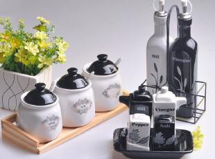 创意欧式 陶瓷调味罐 简约调料罐 调味盒 欧美风格 11件套装特价,调味罐,